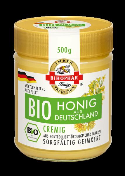 Glas cremigen Biohonigs aus Deutschland, sorgfältig geimkert