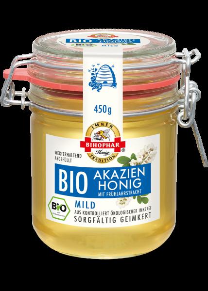 Bügelglas mit flüssigem Bio-Akazienhonig mit Frühjahrstracht