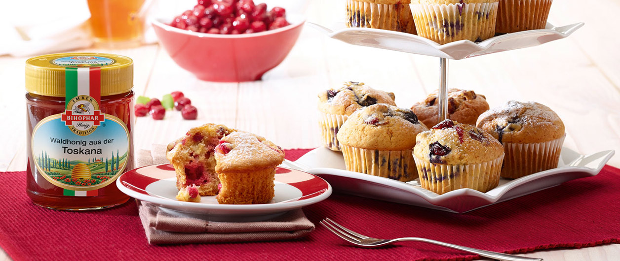 Cranberry-Muffins mit BIHOPHAR Waldhonig aus der Toskana