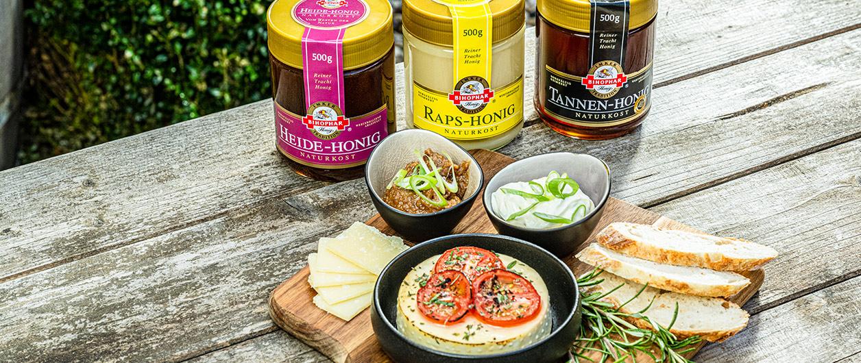 Käse-Dreierlei mit BIHOPHAR Honig-Vielfalt