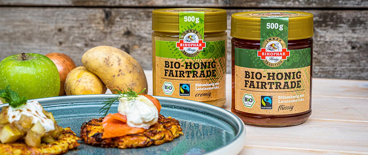 Reibekuchen – herzhaft und süß mit BIHOPHAR Bio-Honig Fairtrade
