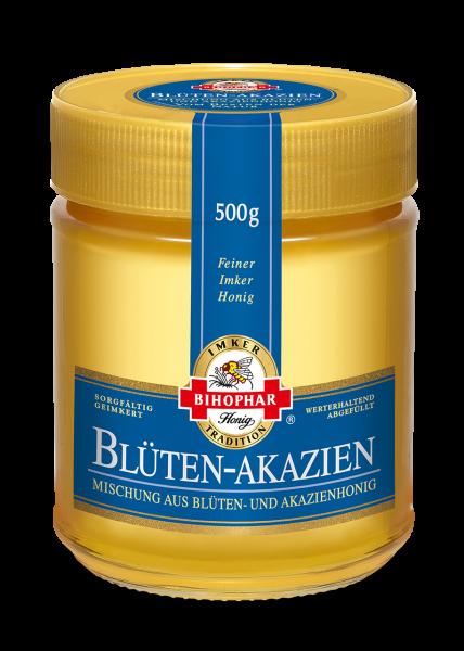 Blüten-Akazien im 500-Gramm-Honigglas